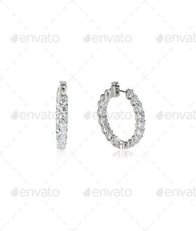 Diamond hoop dangle pave elaborate bridal earrings