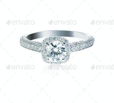 Round brilliant Diamond Wedding band engagement ring