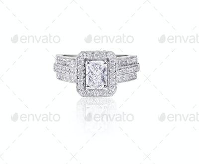 Large emerald cut Diamond Wedding band engagement ring