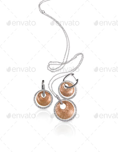 Diamond white and rose gold fashion necklace and earrings set