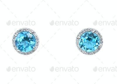 turquoise aquamarine Blue topaz Gemstone and diamond earrings