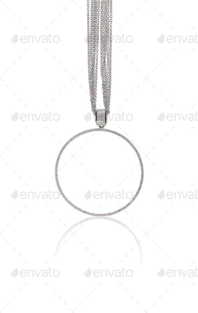 Round Circle Diamond Pendant necklace on a chain
