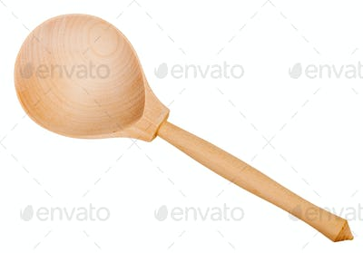 top view of simple wooden spoon isolated