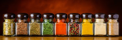 Glasses of Cooking Spices and Seeds