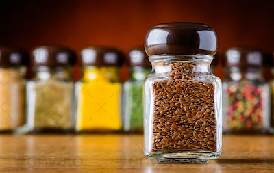 Flaxseeds in Glass