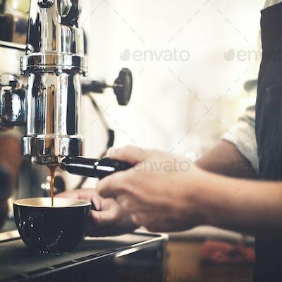 Barista Machine Coffee Counter Espresso Pour Concept
