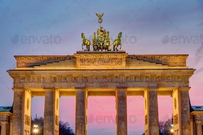 The Brandenburg Gate after sunset