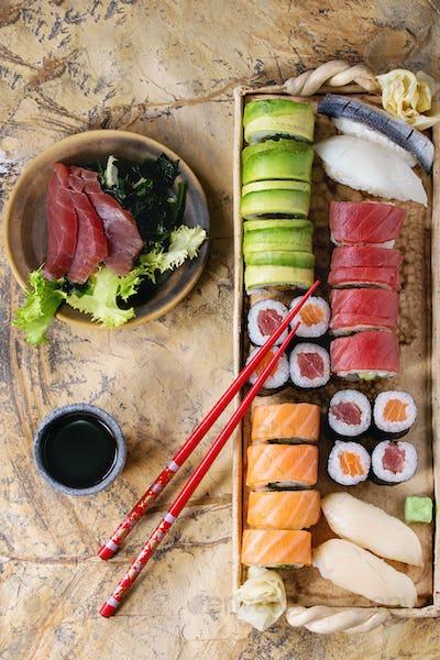 Sushi set nigiri, rolls and sashimi