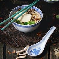 Asian soup ramen with feta cheese