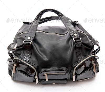 Black leather road bag