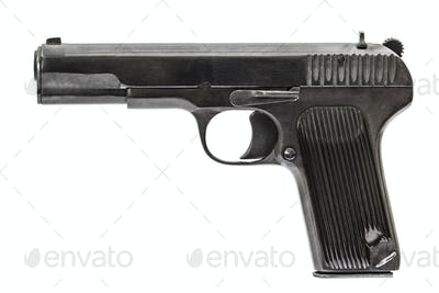Automatic pistol, isolated on white background