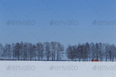 Winter landscape with a red bus