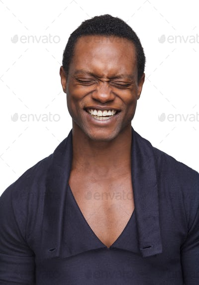 African American Man with Eyes Closed