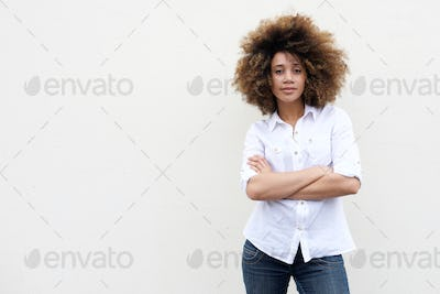 Cool young african american woman with curly hair
