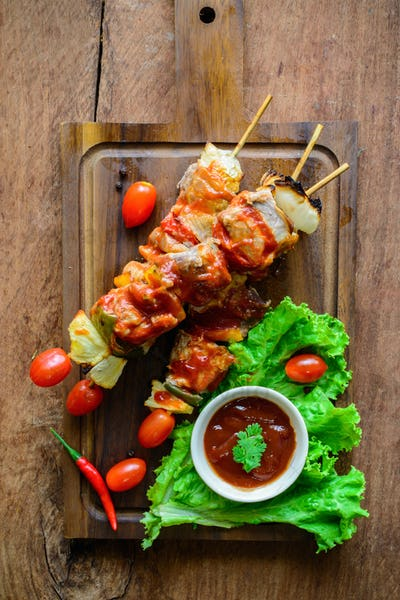 Grilled pork barbecue with sauce
