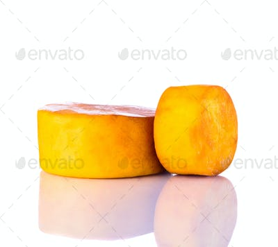 Smoked Cheese Isolated on White Background