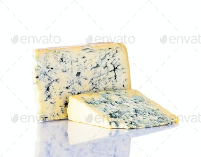 Blue Gorgonzola Cheese on White Background