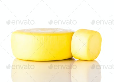 Yellow Wheel Kashkaval Cheese on White Background