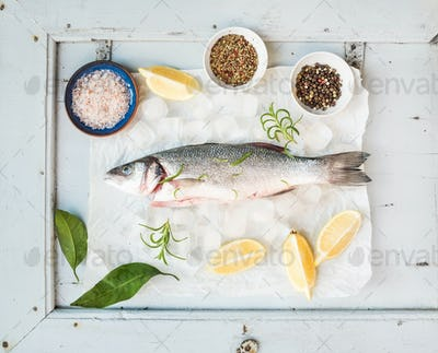 Fresh uncooked seabass fish with lemon, herbs, ice and spices