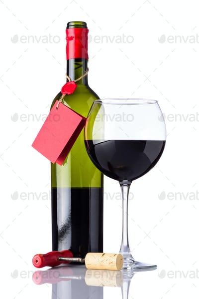 Bottle and Glass Red Wine on White Background