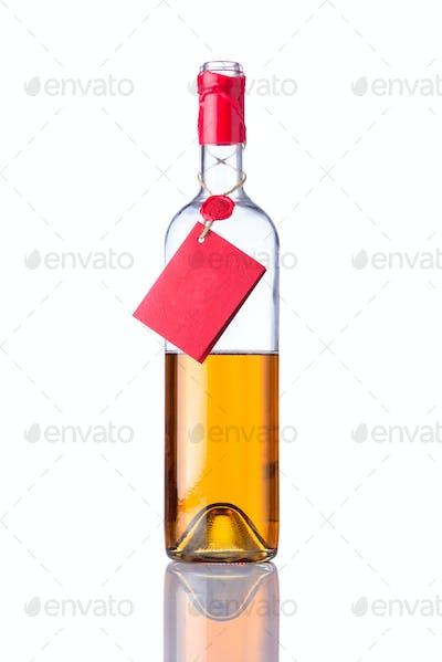 Opened Bottle White Wine on Isolated Background