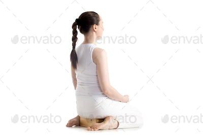 Yoga with props, vajrasana pose