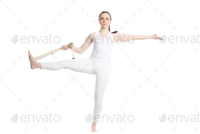Yoga with props, Extended Hand-To-Big-Toe pose