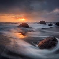 Sunrise in Burgas bay, near Atia