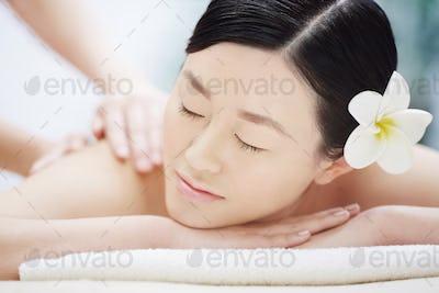 Getting spa massage