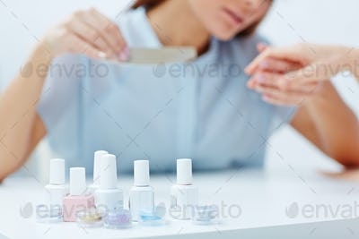 Doing manicure