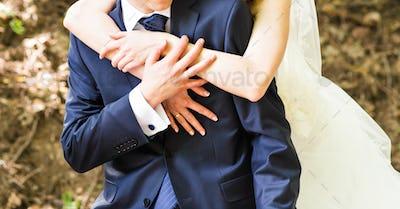 Wedding, Beautiful Romantic Bride and Groom Embracing