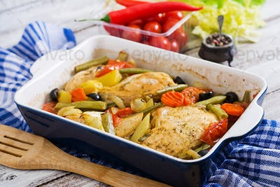 Baked, diet and healthy a chicken fillet with vegetables