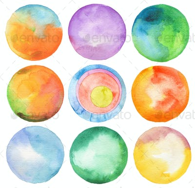 Set of circle watercolor.