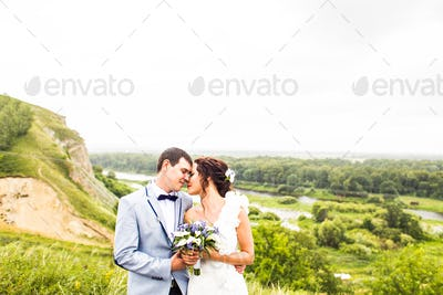 Bride and groom at wedding Day walking Outdoor