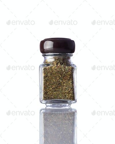 Jar Dried Herbs Isolated