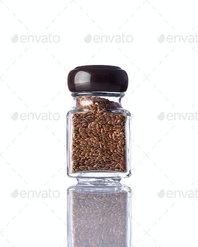 Jar Brown Flaxseed Isolated