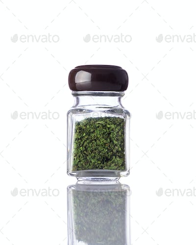 Jar Dried Green Herbs on White Background