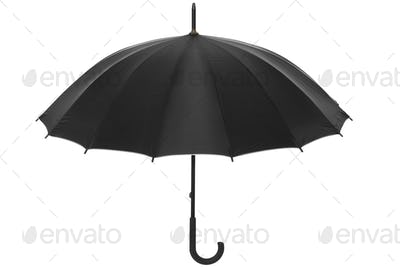 Black simple umbrella isolated on white, clipping path included