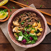 Miso and soba noodle soup with roasted  tofu and  mushrooms. Top