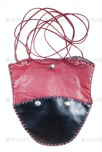 flat bag sewn from black and red leather