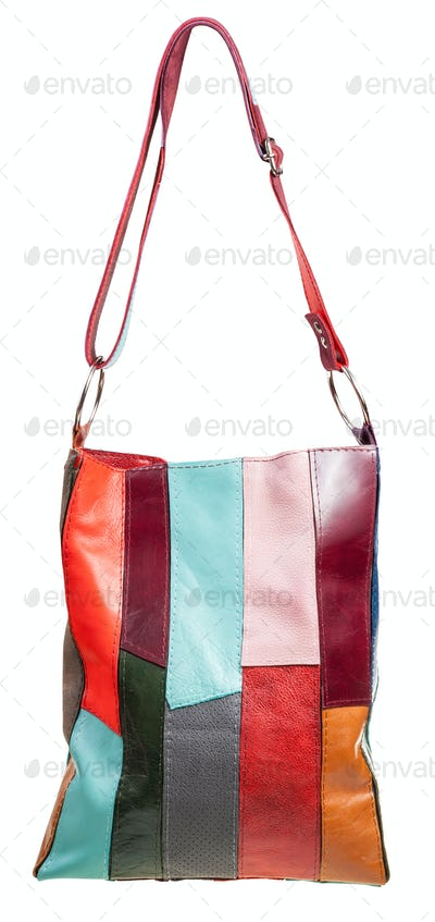 shoulder handbag from multicolored leather pieces