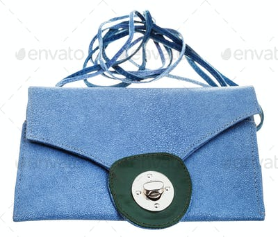 closed blue clutch bag from natural stingray hide