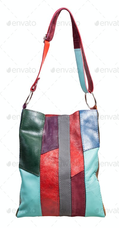 front view of shoulder bag from leather pieces