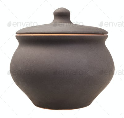 profile view of closed ceramic pot isolated