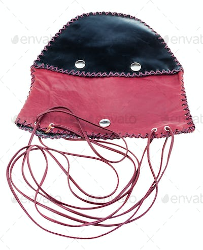 flat cross-body bag from black and red leather