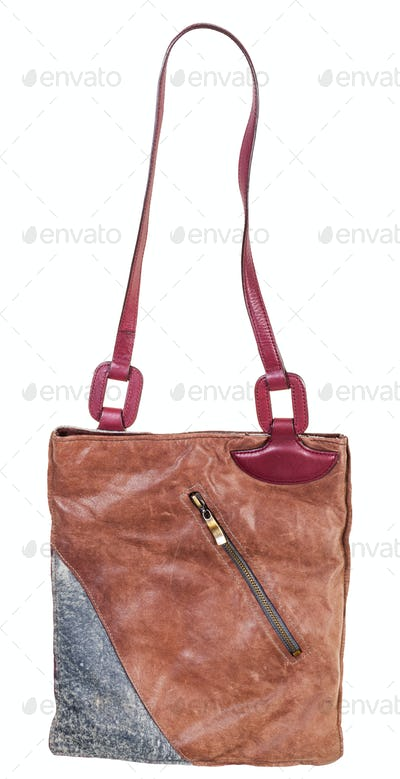 shoulder handbag sawn from leather pieces isolated