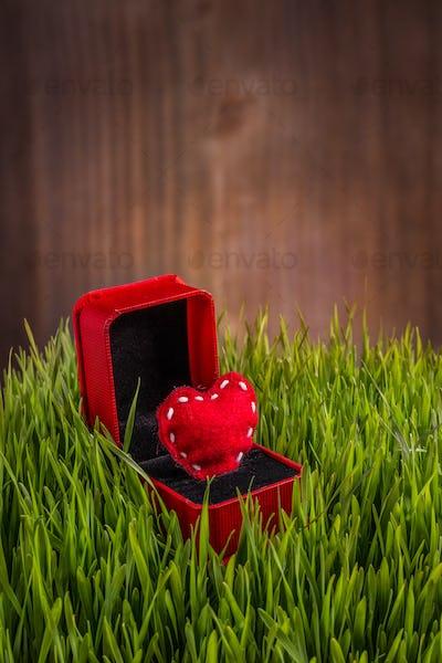 Red felt heart