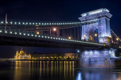 The night view of the Parlament building and the Danube under th