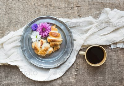 French breakfast with coffee and croissants
