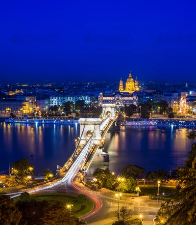 The night view of the Chain bridge, the Danube and Saint Istvan'